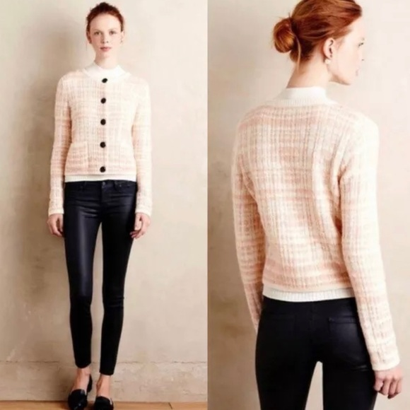 Anthropologie Sweaters - Knitted & Knotted Pink Plaid Cropped Cardigan XXS